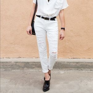 American Eagle Tomgirl white jeans